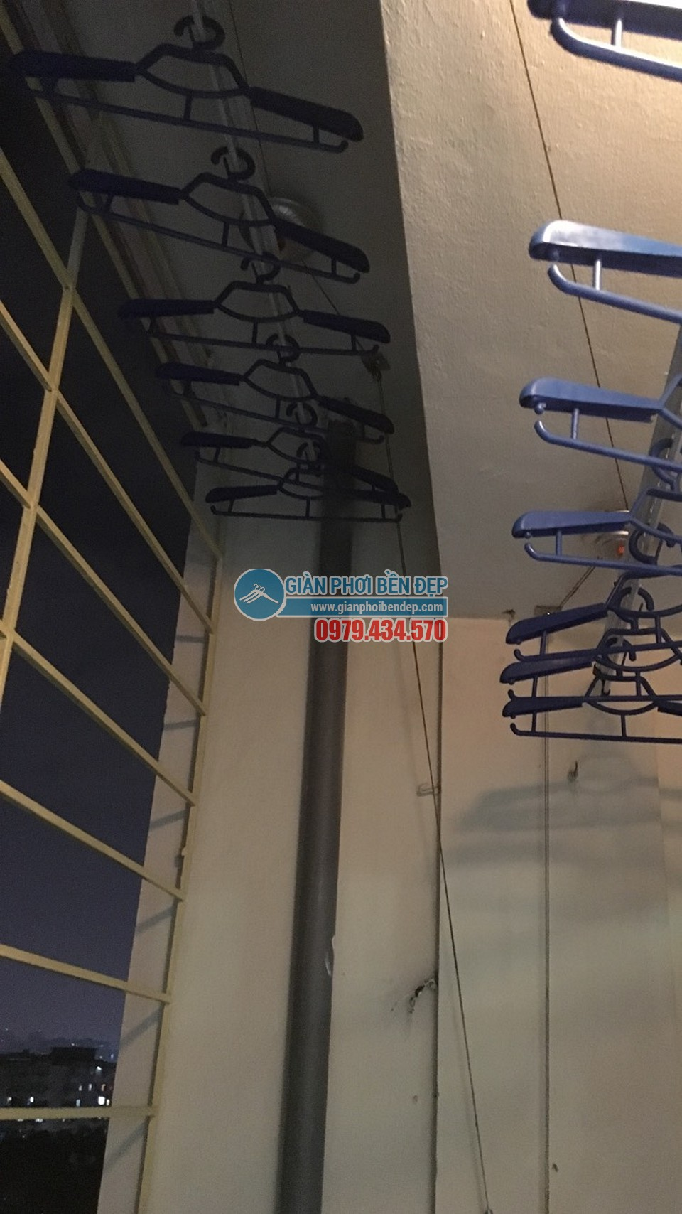 Hoàn thiện lắp đặt giàn phơi thông minh nhà cô Liên, chung cư CT5 Định Công - 05