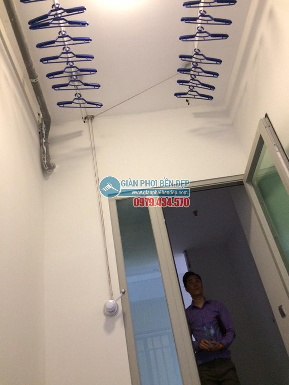 Lắp đặt giàn phơi thông minh tại lô gia nhà chị Hòa, Taseco Complex Ngoại Giao Đoàn - 02