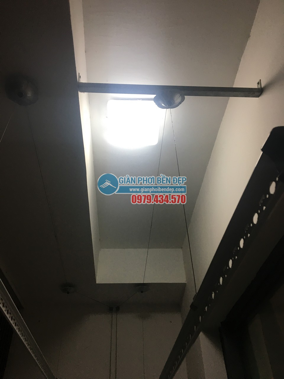 Thay dây cáp cho giàn phơi thông minh nhà chị Linh, tòa Hà Đô Park View - 04