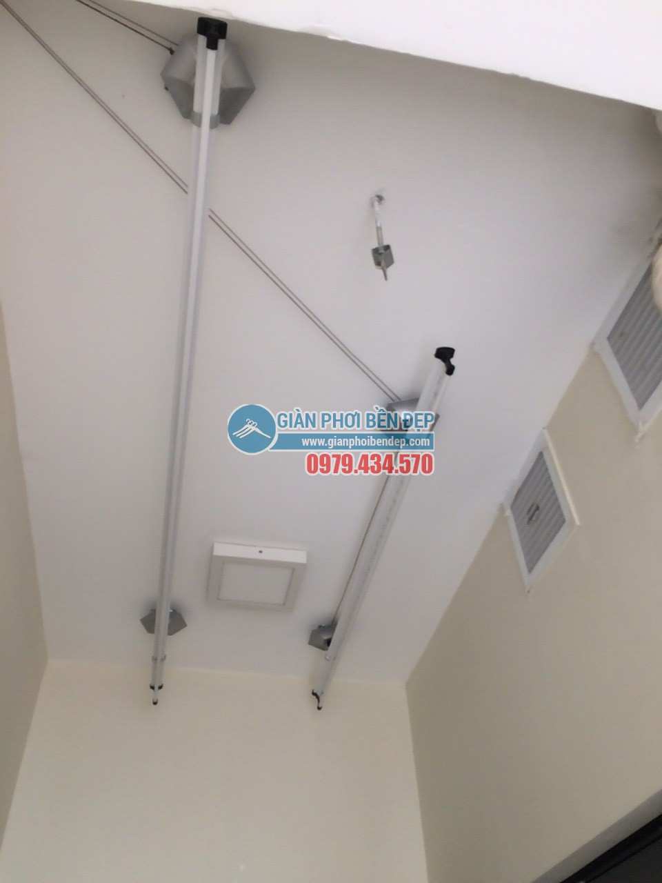 Hoàn thiện lắp đặt giàn phơi thông minh nhà chị Tâm, chung cư 75 Tam Trinh - 05