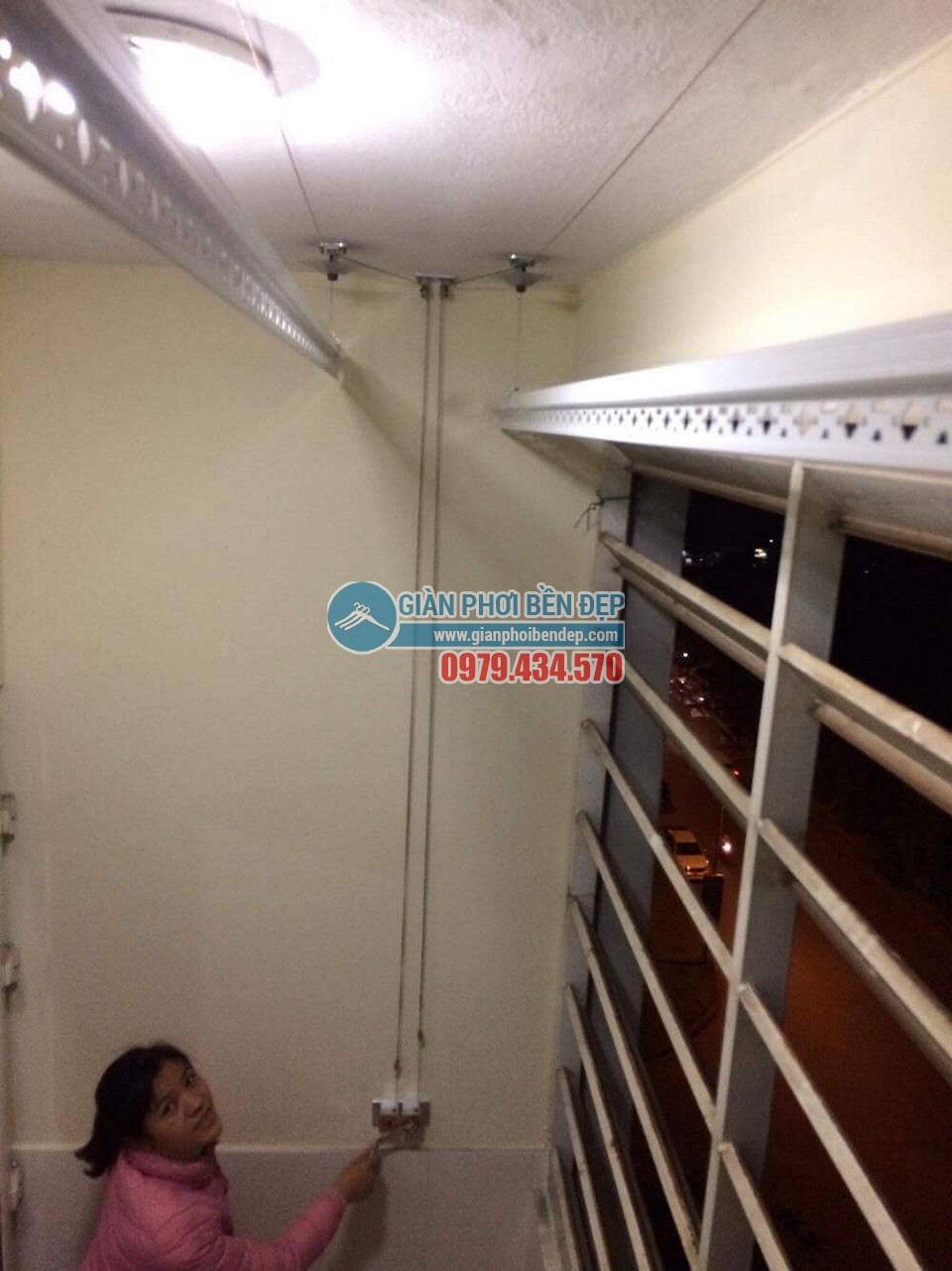 Hoàn thiện lắp đặt giàn phơi thông minh tại nhà chị Hương, chung cư CT6 Đặng Xá - 03