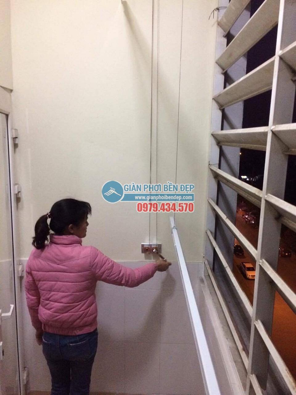 Hoàn thiện lắp đặt giàn phơi thông minh tại nhà chị Hương, chung cư CT6 Đặng Xá - 06