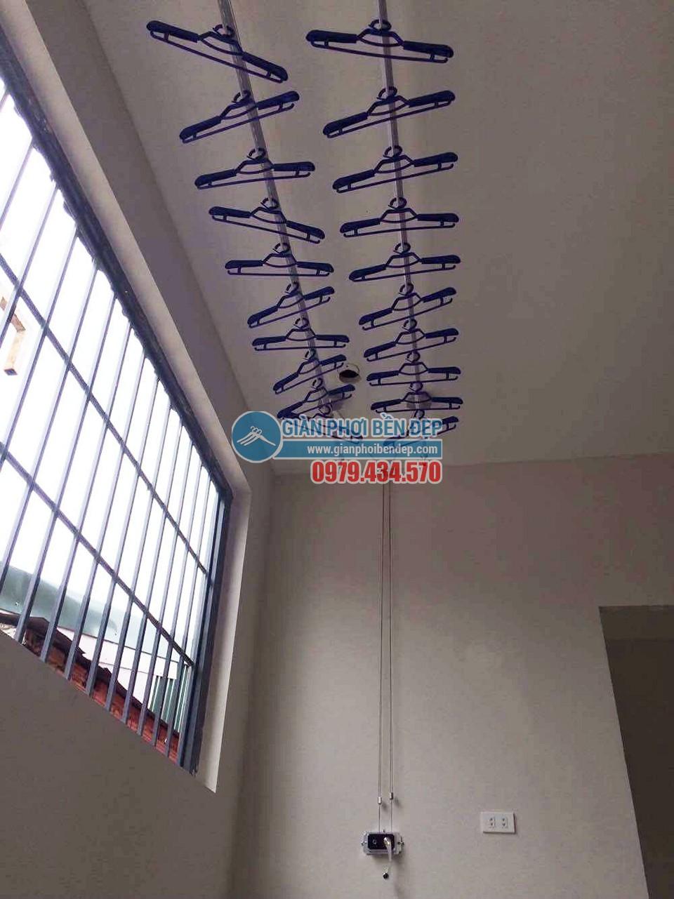 Lắp đặt giàn phơi quần áo thông minh nhà chị Hà, ngõ 21 Nguyễn Đình Thi